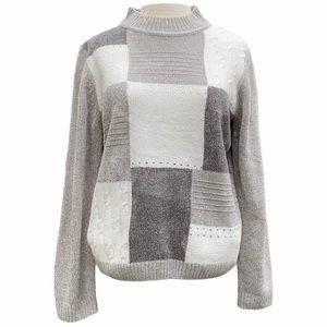Alfred Dunner sweater,gray/white,Petite large,NWT